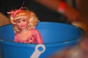 Barbie in a bucket. She's totes my best friend from childhood!!