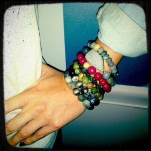 Jessica Alba Stack paired with some of my own bracelets.