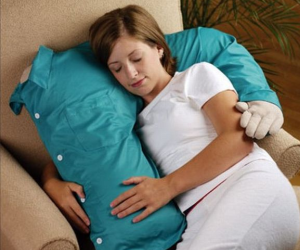 At least the boyfriend pillow doesn't talk back. But he's a little soft in the core.